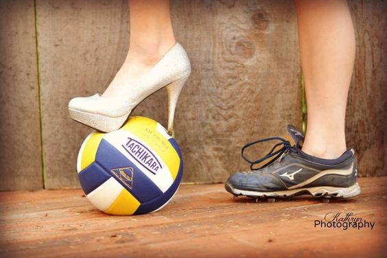 These were taken at prom but a great senior picture idea!! Volleyball, softball and prom!!