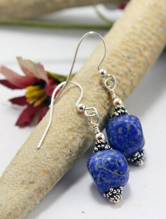 Jewelry Earrings Lapis Stone and Sterling by RiverWolfeJewelry, $20.00