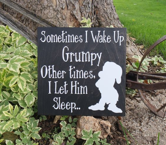Sometimes I Wake Up Grumpy, Other Times I Let Him Sleep Wall Sign, Snow White and the Seven Dwarfs Sign, Grumpy Sign, Disney Sign, Sign by CraftyWitchesDecor on Etsy https://www.etsy.com/listing/400854597/sometimes-i-wake-up-grumpy-other-times-i