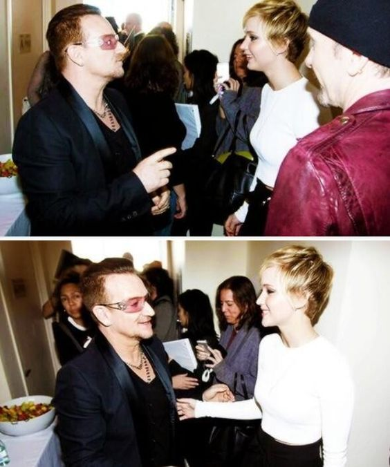 Jennifer Lawrence meeting Bono from U2.