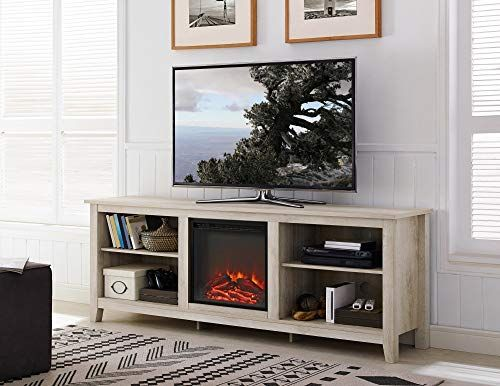 Great For New 70 Inch Wide Television Stand With Fireplace In White Oak Finish Living Room In 2020 Living Room Tv Stand Living Room Tv Living Room Entertainment Center