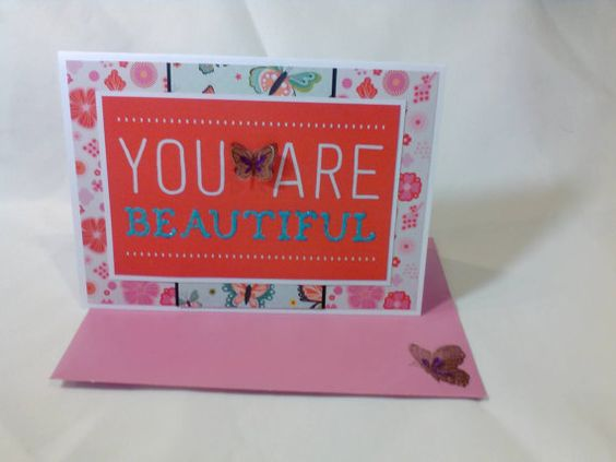 You are Beautiful Greeting Card  blank inside by beautifullygreen