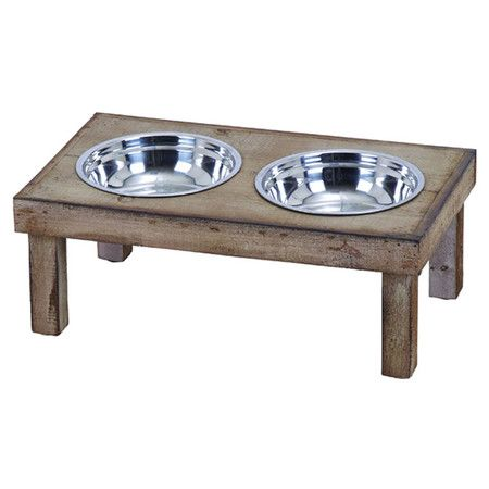 An essential addition to your kitchen or mudroom, this rustic pet diner features a weathered wood frame and 2 steel bowls.  Product...
