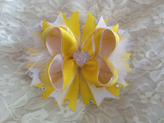 Yellow and white bows by ItsJustHairBows on Etsy