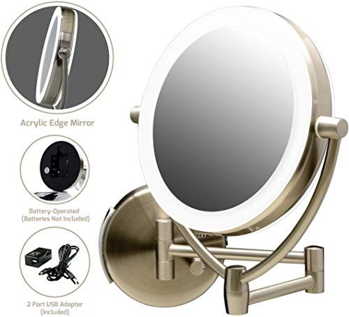 New Ovente Wall Mounted Makeup Mirror 9 5 Inch With 10x Magnification And Led Ring Lights Energy In 2020 Wall Mounted Makeup Mirror Wall Mounted Mirror Makeup Mirror