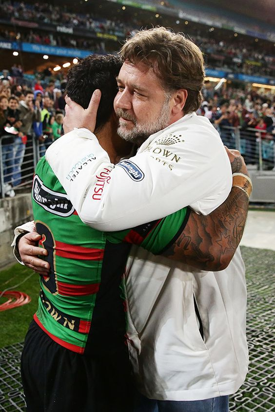 Russell Crowe embraces Issac Luke - Matt King/Getty Images