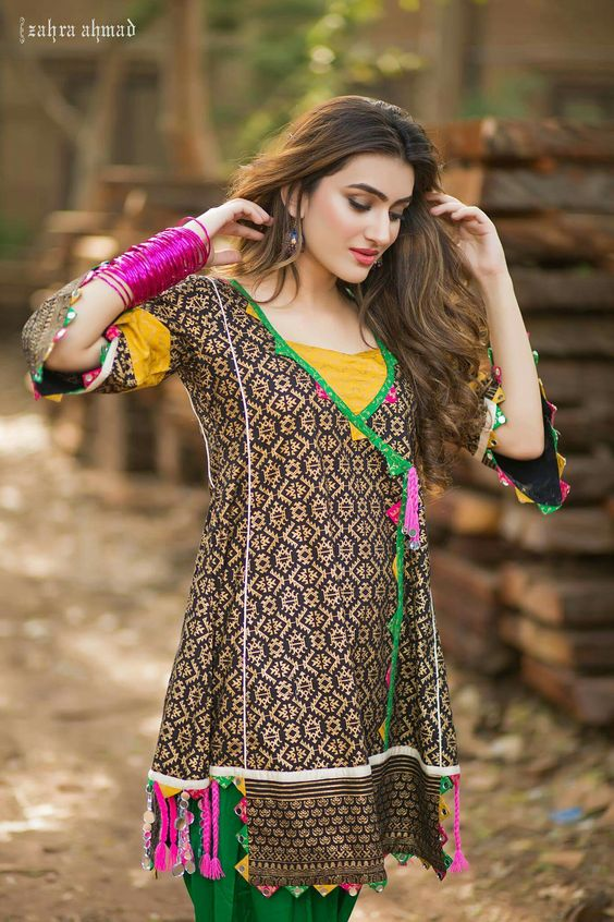 Stitching Styles Of Pakistani Dresses Brown Printed Angrakha Style