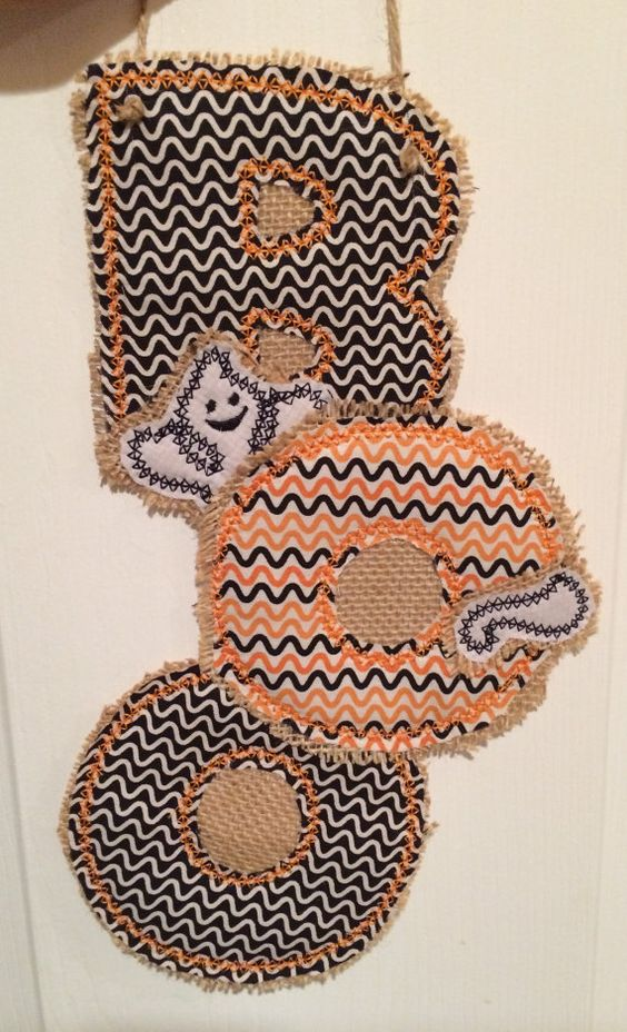 BOO Door Hanger. Custom with Burlap and fabric. by CreatedByMI
