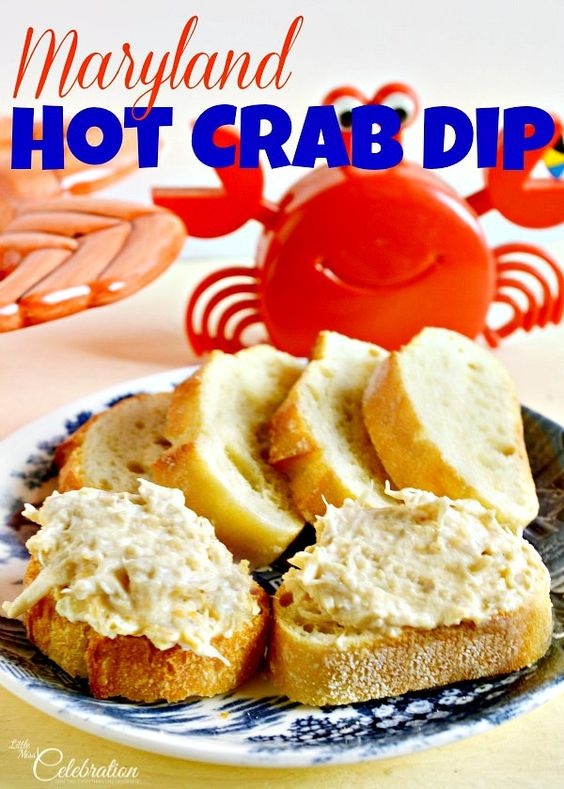 Maryland Hot Crab Dip - a creamy & delicious dip thick with lumps of sweet crab. Makes any day a party! At littlemisscelebration.com