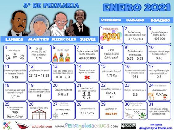 Calendario Quinto ABN – Enero 2021