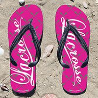 Lacrosse Word Lacrosse Stick Pattern Pink/Green Girls Flip Flops - Kick back after a lacrosse game with these great flip flops! Fun and functional flip flops for all lacrosse players and fans.