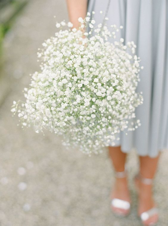 Gypsophila Bouquet | Pastel Coast Bridesmaids Dresses Classic Wedding At Middleton Lodge | Images By Georgina Harrison Photography | http://www.rockmywedding.co.uk/ellie-james/
