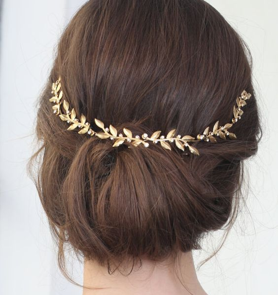 Gold Bridal Leaf Tiara Bridal Leaf Headband Bridal by Ayajewellery: