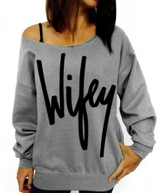 Fashion Women Letter Print Hoodies Crew Neck Long Sleeve Sweatshirts Pullovers #Generic #Blouse #Casual