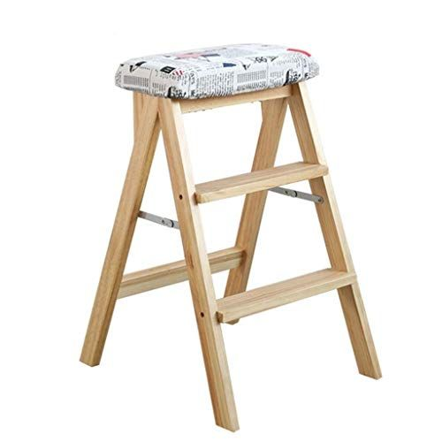 Amy Zw Solid Wood Folding Ladder 丨 Kitchen Portable Home High Stool 丨 Indoor Three Step Ladder With Detachable Seat Cove Portable House High Stool 3 Step Stool