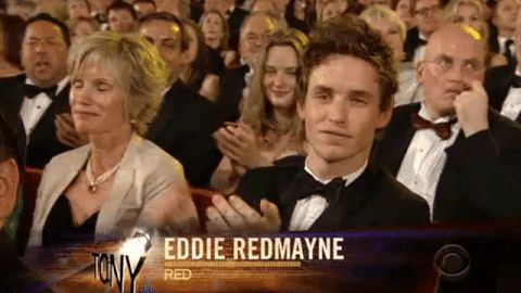 "addictedtoeddie: ""Tony Awards June 13, 2010Eddie won his Tony Award six years ago - video Happy Birthday to Eddie's mom Patricia Redmayne! "" Proud moment 💕"