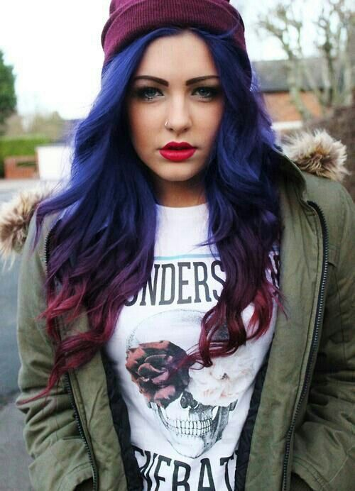 Blue with red ombré hair!  I THINK I WANT THIS NEXT