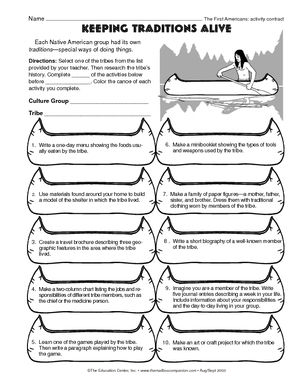 Worksheet: Native American traditions | Social Studies / Native ...