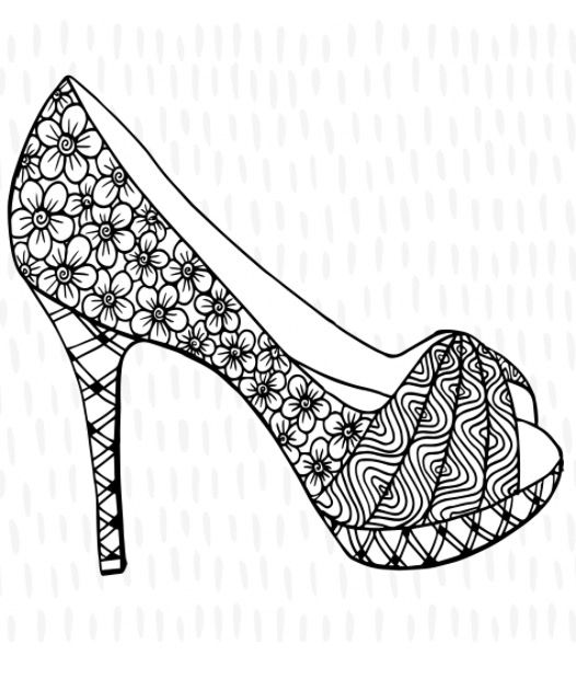 High Heel Stiletto Shoe Colouring Page Recolor App Coloring