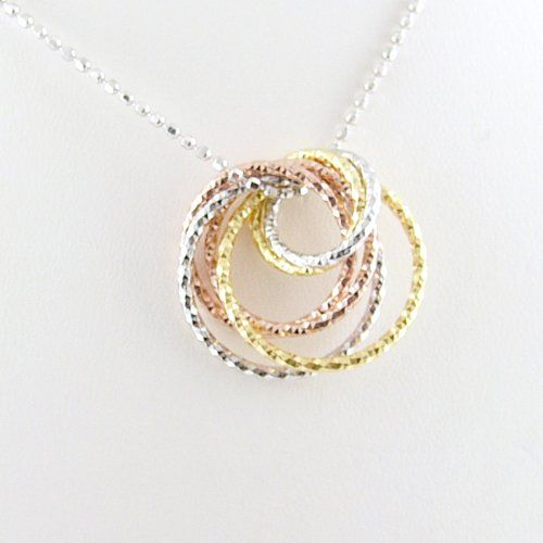Tri-Color Rose, Yellow Gold Plated Rings Sterling Silver Diamond Cut Ball Nickel Free Chain Necklace Italy 18... $33.99 (save $41.00) + Free Shipping