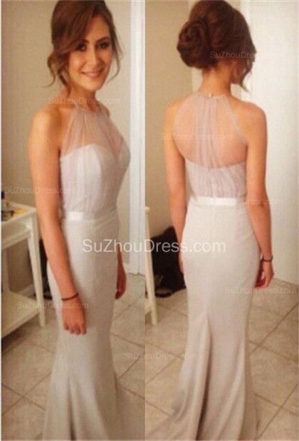 2015 Prom Dresses Halter Sleeveless Mermaid Sash Sweep Train Grey ...