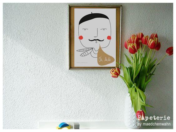 Oh+LaLa+Monsieur,+A4+Druck+Poster+von+Maedchenwahn+auf+DaWanda.com