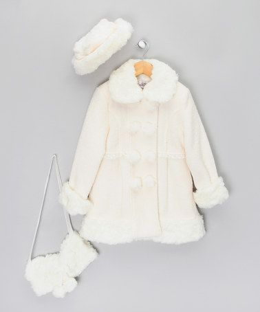 White Coat with Faux-Fur Hat &amp Muff - Infant Toddler &amp Girls by