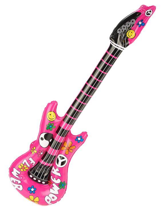 Guitare gonflable rose : Cette guitare gonflable rose mesure 105 cm de long.Elle recouverte de divers motifs hippie (fleurs,smiles).Pour adulte ou enfant, cet accessoire de déguisement est idéal pour le...