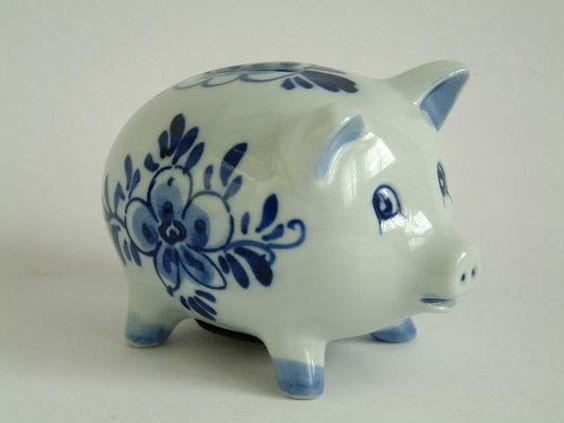 Piggy Bank Delft Blue Pinterest Delft Blue And