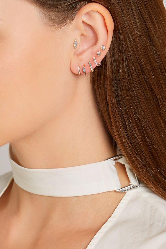 Maria Tash   Mini 18-karat rose gold diamond earring   NET-A-PORTER.COM