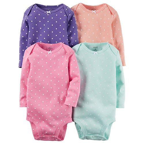 Baby Girl (NB-24M) Carter`s 4pc. Dot Bodysuits