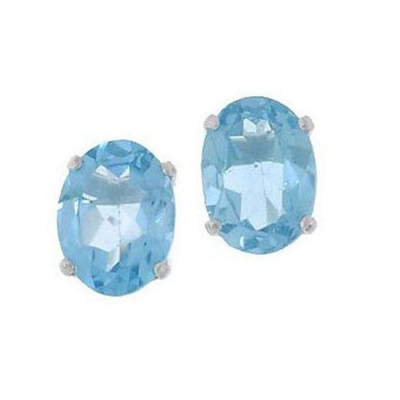 Kabella 14k White Gold Oval Blue Topaz Stud Earrings (White Gold), Women's