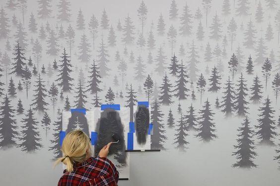 трафарет леса для росписи
