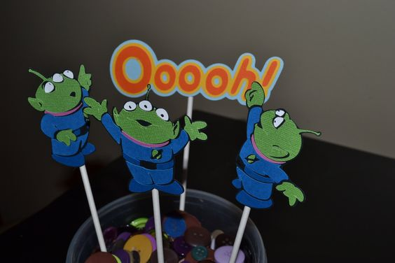 Toy Story Aliens Cupcake Toppers Aliens by BeesDieCutDesigns, $8.00