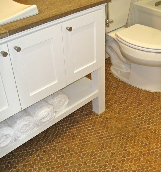 LOVE LOVE LOVE!!! cork penny tile bathroom floor...mold/mildew resistant.