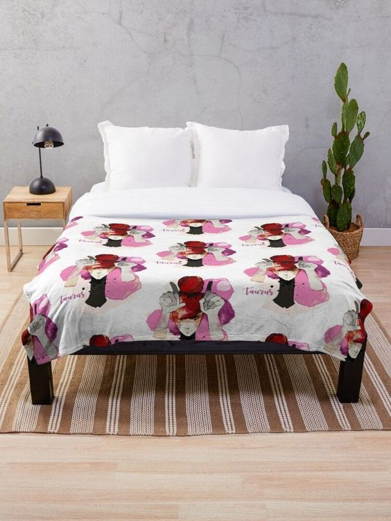 Throw blanket gift premium quality print Zodiac Taurus horoscope printed photosh