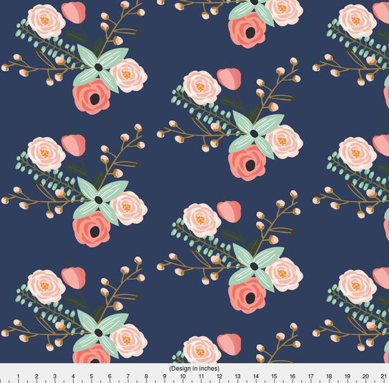 Summer Flowers Fabric - Summer Floral Navy - Navy Floral - Flowers By Modfox - Flowers Cotton Fabric By The Yard With Spoonflower by Spoonflower on Etsy https://www.etsy.com/listing/496296824/summer-flowers-fabric-summer-floral-navy