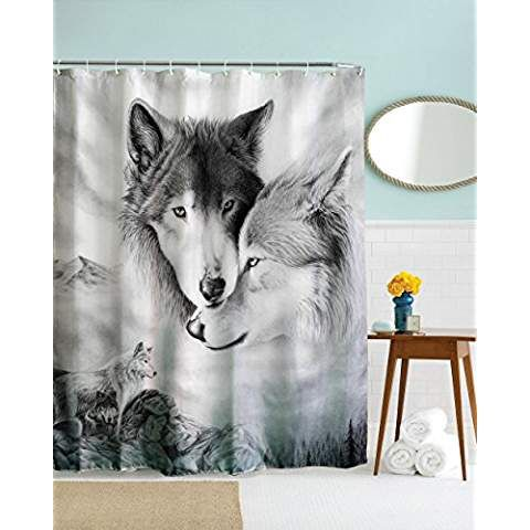 Wolf Shower Curtain Animal Themed Wolves Lover Fantastic Fabric