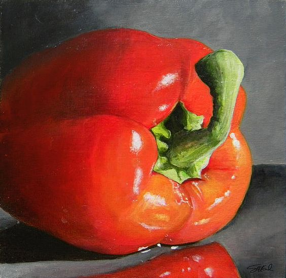 """Bell Pepper Mini Painting Acrylic on Canvas 6""""x6"""" Perfect little painting to compliment any kitchen. steve-goad.fineartamerica.com"""