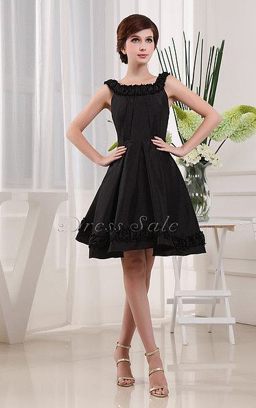 Ruched A-line Scoop Knee-length Dress