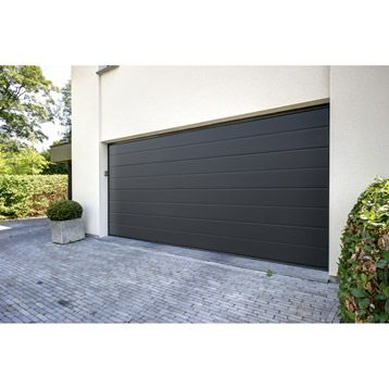 Porte de garage sectionnelle acier gris anthracite excellence 200 x 240 cm leroy merlin - Porte de garage sectionnelle gris anthracite ...