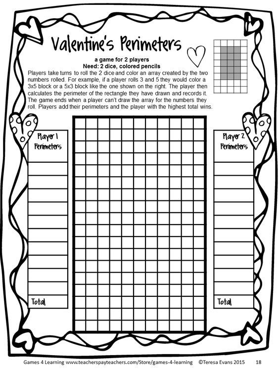 Day Perimeters Game from Valentine's Day Math Games Fourth Grade ...