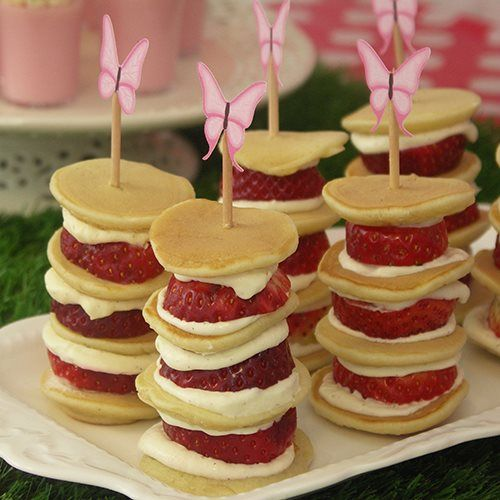 Strawberry Pancake Stacks. Fairy party food