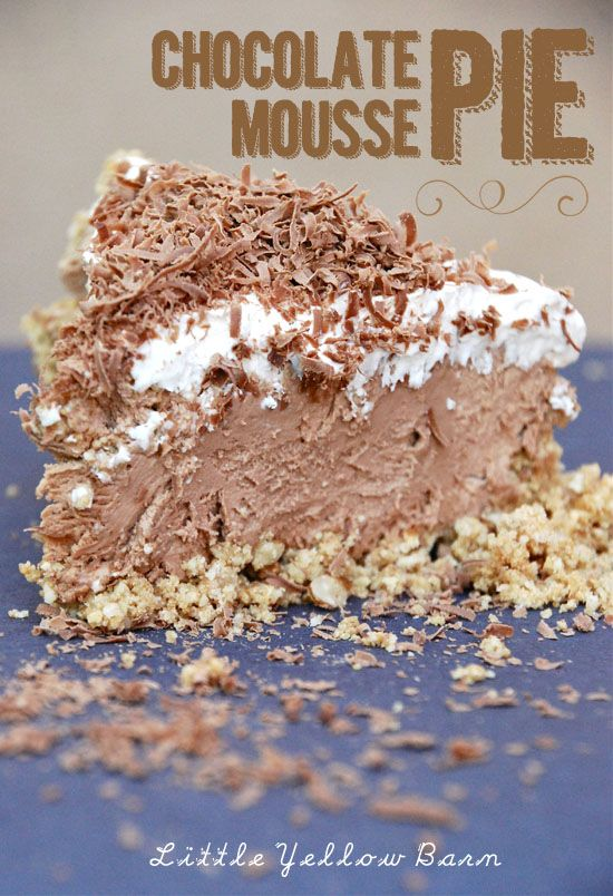 Chocolate Mousse Pie  Crust:  2/3 cup graham cracker crumbs  4 Tbs. melted butter  1/3 cup rice checks crumbs  1/2 cup chopped pecans    Filling:  1 cup milk chocolate chips  6 Tbs. sugar  3 oz. cream cheese, softened  1/3 cup milk  1 and 1/3 cup of whip cream  1 tsp of vanilla