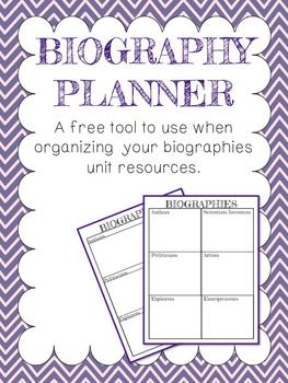 Free planner biography project and biography on pinterest
