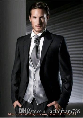 Groom Tuxedos 2015 Hot Sale Wedding Formal Black Men`s 3 pieces