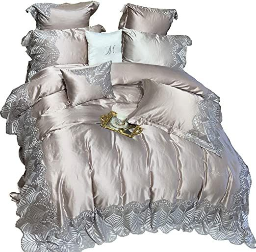 Bedding Bed Sheet Set 4 Piece Queen Bedding Cotton Fabric Silk Cotton Lace Silky Cotton Q 20 3 27 Color Gold Size 1 8m In 2020 Bed Sheet Sets Bed Bed Sheets