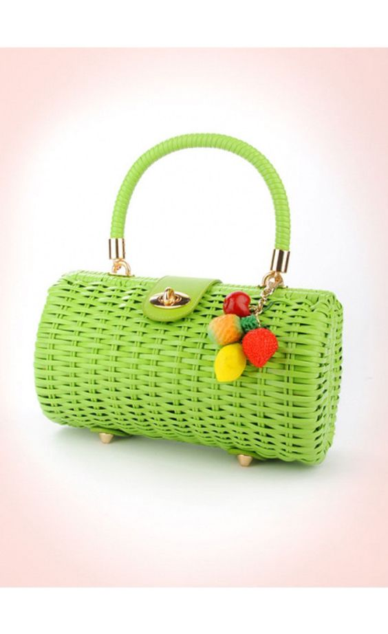 Green Vintage Wicker Purse | Catnip Reproduction Vintage Clothing