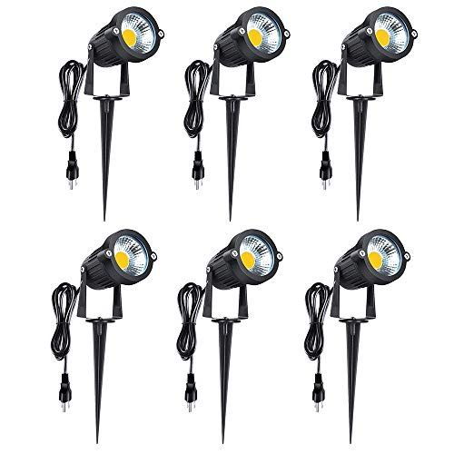 Romwish Led Landscape Lights 5w 120v Outdoor Led Spotlights With Metal Ground Stake Plug And Play 3000k Warm White For Garden Yard Lawn Decora Flag Light In 2020 Led Landscape Lighting