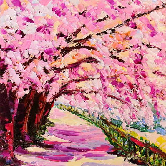 Cherry blossoms tree sakura pink tree landscape original for Canvas painting of cherry blossoms